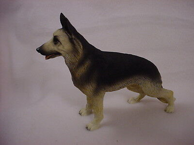 GERMAN SHEPHERD FIGURINE black & tan dog HAND PAINTED Resin Puppy COLLECTIBLE