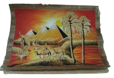 Landscape Hand Painted on Old Egyptian  Papyrus Paper Shines In Dark (40x30 Cm)