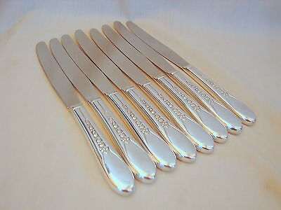 8 Old Wm Rogers Priscilla Ptn Silver 9in Dinner Knives, Excellent Condition 1941