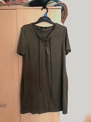 New Womens Modest Embroidered Long Sleeve Raglan Top Soft Khaki Tie up size 8
