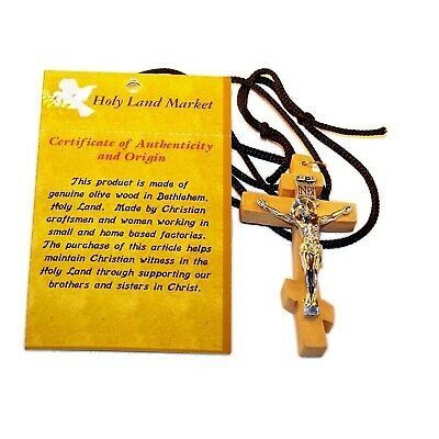 Russian or 3-Bar Patriarchal Crucifix - Olive wood Necklace (2.8 inches - 7cm)