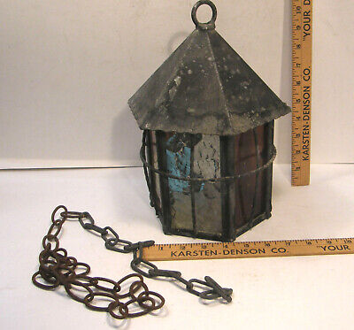 Vintage Arts & Crafts Tudor Stained Glass Pendant Porch Light Lamp Fixture