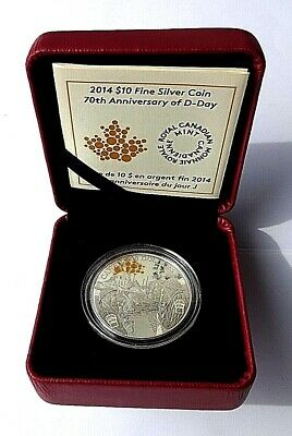 Royal Canadian Mint 70th Anniversary D-Day 2014 FineSilver Proof 10 Dollars COA
