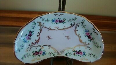 Antique HandPainted Porcelain Bone Dish GORGEOUS PINK White ROSES unsigned