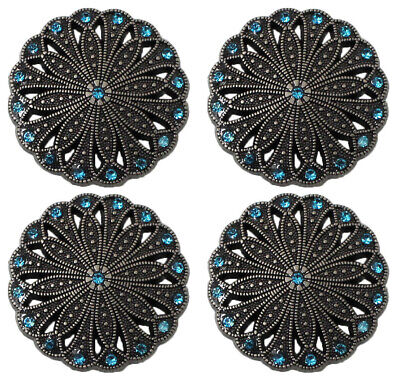 Concho Set of 4 Conchos Western Saddle Tack Antique Silver Rhinestones 401539