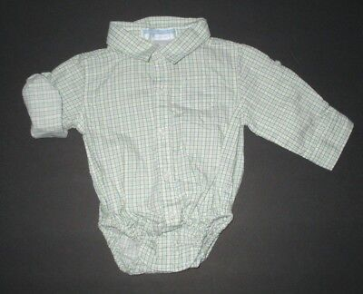 Infant Boys Janie And Jack Mister Turtle Green Plaid Bodysuit Shirt Size 0-3 M
