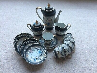 Vintage Japanese Raised Dragonware Moriage Tea Set