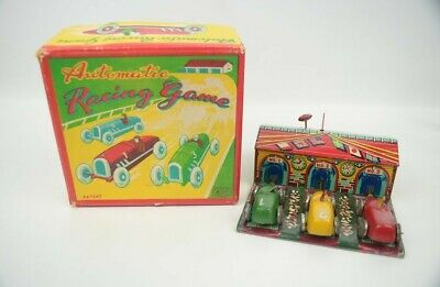 Vintage Haji Japan Automatic Racing Game Litho Tin Car Toy Complete w/ Box