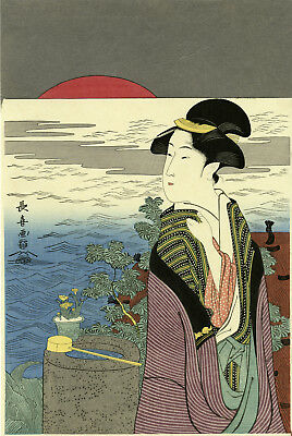 "Gorgeous CHOKI Japanese woodblock print: ""SUNRISE AT NEW YEAR"""