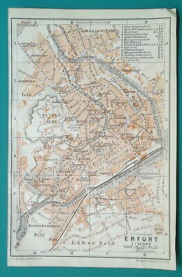 "GERMANY Erfurt City Town Plan - 1912 MAP Baedeker 4 x 6"" (10 x 15,5 cm)"