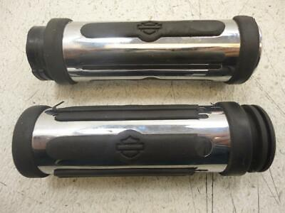 Harley Davidson Sportster Dyna Softail VRod CHROME AND RUBBER HAND GRIPS GRIP
