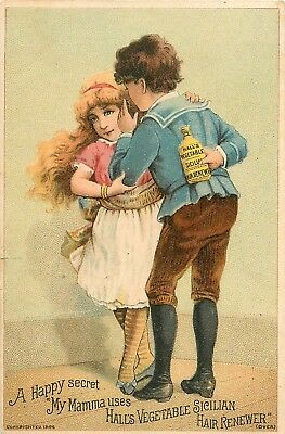 1800s Victorian Trade Card - Hall's Vegetable Sicilian Hair Renewer - Quack a