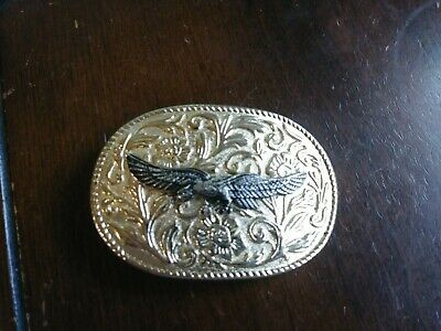 Vintage Brass Embossed Belt Buckle With Eagle On Floral Background