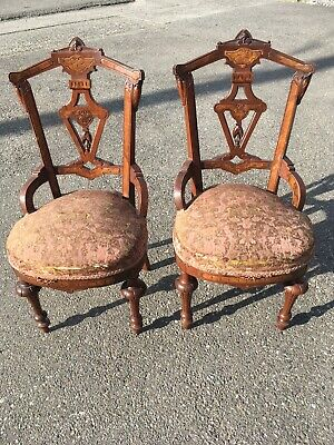 1800s Two Antique Eastlake Victorian Carved Ornate Parlor Chairs Princess Walnut