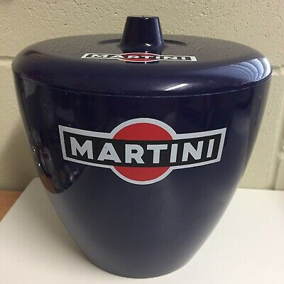 Vintage Martini Blue Ice Bucket - Made in Torino Italy - 20cm high - Mancave