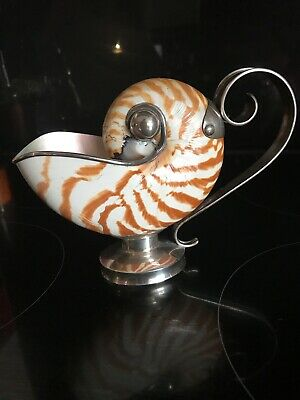 Real Nautilus Shell Sterling Silver Mounted Sauce Boat
