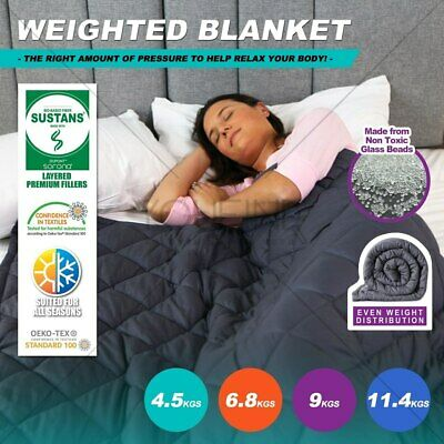 Premium Cotton Weighted Blanket Adults Kids Gravity 2.2/4.5/6.8/9/11.4KG Comfort