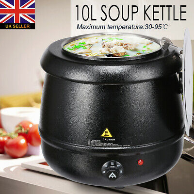 10L Soup Commercial Kettle Stainless Steel Electric Jug Mulled Wine Warmer Black