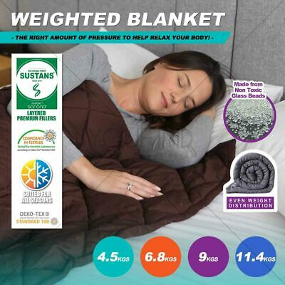 Premium Cotton Weighted Blanket Adults Brown Gravity Sleep 4.5/6.8/9/11.4KG SOFT