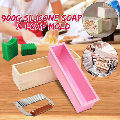 Silicone Soap Mold Wooden Box Loaf Cake Maker Cutting Slicer Cutter Making Tools