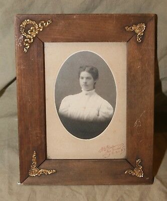 Antique Free Standing Wood Ormalu Decorated Picture Frame w B&W Photo