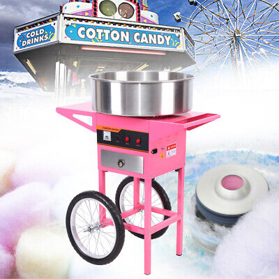 Commercial Candy Floss Machine Cart Pink Cotton Candyfloss Sugar Maker Party DIY