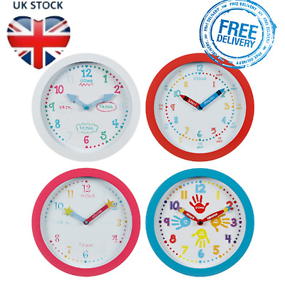 LEARNING WALL CLOCK Childrens Learn To Tell The Time Educational Toy Kids Room