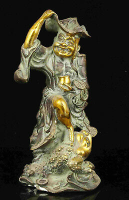 China Collectible Handwork Bronze Gold-Plated Statue Desktop decoration