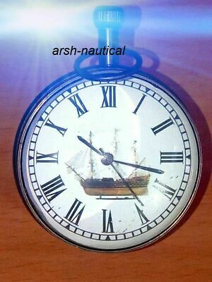 Nautical black antique  Desk Clock Marine Solid Brass Office/Hotel/Motel Decor I