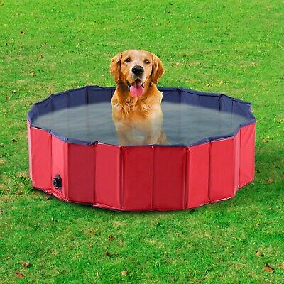 Dog Pet Swimming Paddling Pool Outdoor Bath Collapsible Portable Puppy Pool