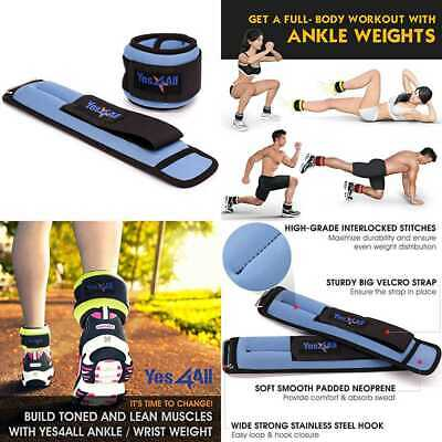 Yes4ll 2 Lbs Ankle Weights/Wrist Weights For Women & Men – Fully Adjustable Leg