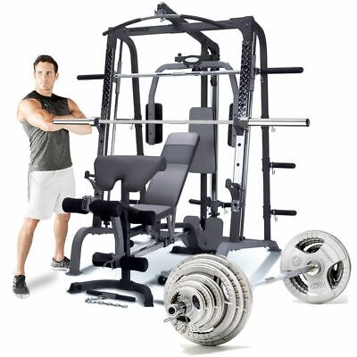 Marcy SM4000 Smith Machine with Weight Bench & 140kg Olympic Plate Set