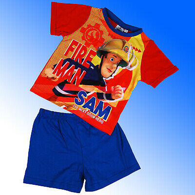 Boys Official Genuine SHORT Fireman Sam Pyjamas Age 18 Months 2 3 4 5 Years