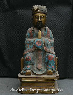 """10"""" Old Chinese Cloisonne Enamel Dynasty Palace Civil Official Civilian Statue"""