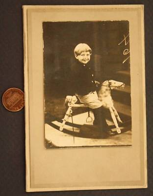 1916 Pre-WWI Era real photo of a baby on a wooden rocking horse at Gettysburg!*