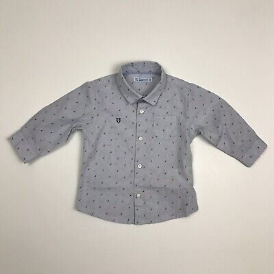 MAYORAL Boys Size 6m Blue Checkered Long Sleeved Buttoned Shirt NWOT