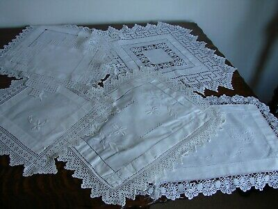 7 Vintage Edwardian white rectangular linen doilies, crochet lace & embroidery