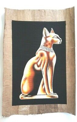 Bastet Cat - Egyptian Old Papyrus Paper Hand Painting Shines In Dark (40x60 Cm)