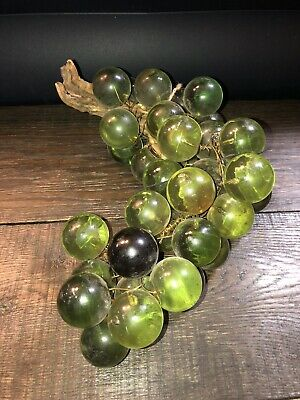 "Vintage Retro Acrylic Glass Lucite Green Grape Large Cluster DriftWood 13"" Decor"