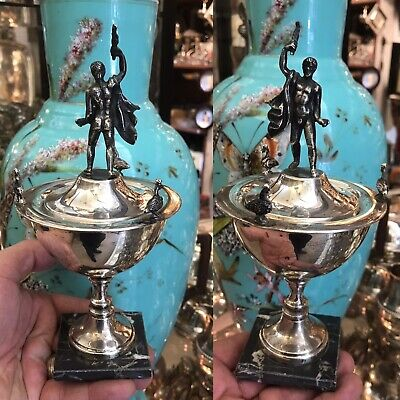 Antique French Or Italian Solid Silver Cup Trophy Victorious Hercules Figure