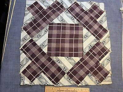 """Antique Vintage Late 1800s Early 1900s Quilt Block 13"""" Great Early Prints"""