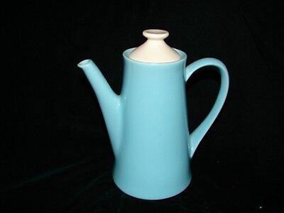 Vintage Blue Pottery Coffee or Teapot - Marked USA ~Blue Tea Pot with white lid