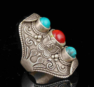 China Old Collectible Hand Carved Tibetan Silver Inlaid Pine Stone Ring Gift