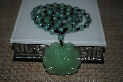 Chinese jade yongshan culture hand-carved jasper mascot necklace A29