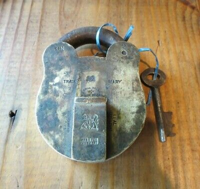 Old Antique Improve India Solid Brass Lock with Working Key, Rustic, Cool, Heavy