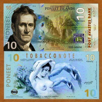 Poneet Islands, 10 Kasutu, Tobacco Note, 2019, POLYMER, UNC > Girls of Essence