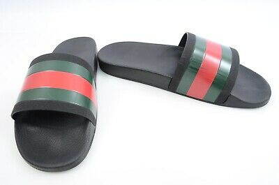 301a5f40c6e Gucci Pursuit black multi 15 signature stripe rubber slide sandal UK14 shoe   210