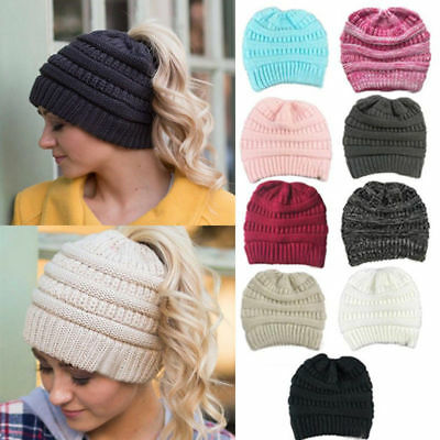 Women Beanie Tail Messy Bun Hat Ponytail Stretchy Knitted Crochet Skull Caps Dr