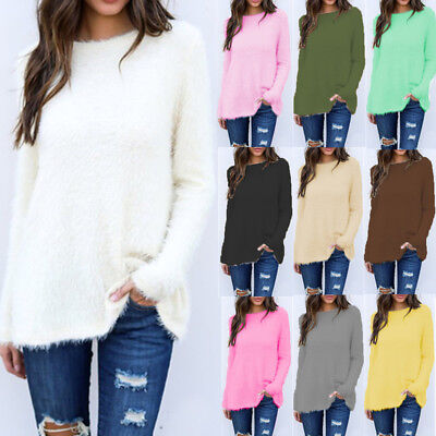 AU Womens Long Sleeve Pullover Sweater Shirt Ladies Loose Blouse Jumper Tops