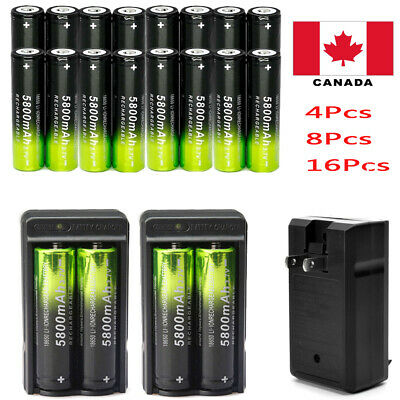 8Pcs 18650 5800mAh 3.7V Li-ion Rechargeable Battery&Charger for Led Torch Lamp
